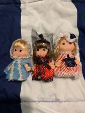 Vintage 1980 Uneeda Little World Collection Dolls Lot Set Of 3