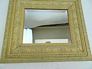 Vintage Bevel Glass Mirror Wood &Plaster Frame Gold Ornate Filigree Square 16x14