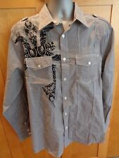 """Roar"""" Enough Excuses"""" Mens Button Front Black/White Shirt Large Embroidered CQ14"""