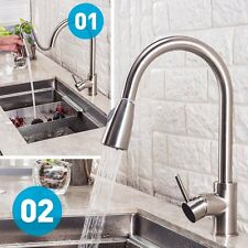 Kitchen Sink Pull Down Faucet,Pull Out Sprayer, Stainless Steel, Brushed Nickel.