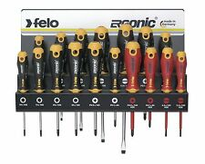 Felo 400 917 43 Screwdriver Set Slotted/Phillips/PoziDriv/Torx with Wall Rack