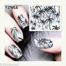 Nail Art Décalco À L'eau Transferts été BLEU Palmiers Vernis Gel (YZW167)