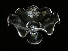 Silver Trim Glass Fruit Bowl Cambridge Style Flowers Stem Bowl Vintage