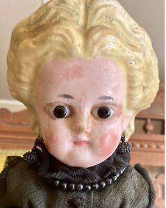 """Antique 19"""" C1840 German Wax Paper Mache Doll W/Orig Body With Wooden Appendages"""