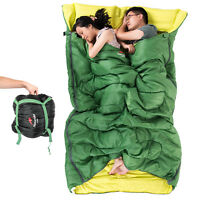 """Huge Double Sleeping Bag 23F/-5C 2 Person Camping Hiking 86""""x60"""" W/2 Pillows NEO"""