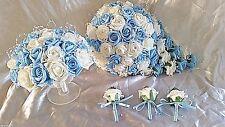 BABY BLUE & IVORY WEDDING BOUQUET SET  TEARDROP 1 X BRIDESMAID 3 X BUTTONHOLES