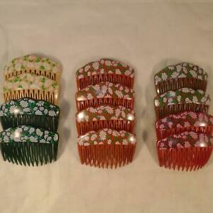 VINTAGE RETRO 80s FRANCE MULTICOLOR FLOWER HAIR COMB NOS LOT 12ct FREE SHIP HQ