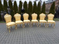 6 FRANCE BAROQUE STYLE ROYAL DINING CHAIRS - GOLD / GOLD  #360GST5
