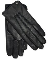 NWT LAUREN Ralph Lauren Womens Leather Whipstitch Touch Gloves