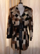 Amazing Vtg PATCHWORK MINK & LEATHER COAT M Classy Curvy Fit Real Fur Stroller