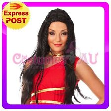 Ladies Black Medieval Deluxe Wig Wigs costume fancy dress Dress Up Accessories