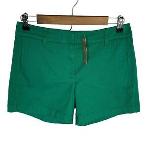 J Crew Women's Flat Front Basic Chino Cotton Shorts size 4 Green