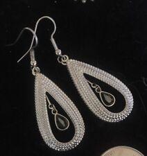 Woman's Faceted Earrings Lg Dangles Lovely Estate Silver Hematite Black Diamond