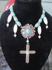Large Vintage Napier Cross & Turquoise Statement Necklace-A Repurposed Original!