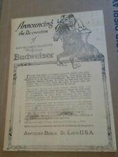 1919 Recreation of Anhueser Busch Famous Budweiser Newspaper Ad