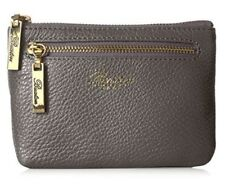NEW - Buxton Florence Mini Leather Zip Pouch  Gray