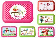 Lunchbox Brotdose für Kinder mit Name Mädchen viele Motive zur Auswahl Eule