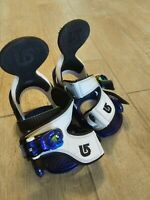Burton FS Grom Snowboard Bindings Youth - Great Condition White Blue