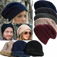 Mens Ladies Fleece Lined Knitted Woolly Winter Oversized Slouch Beanie Hat Cap