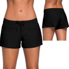 602d8e5b66316b Damen Badehose Boxershorts Bademode Badeshorts Liniert Bikini Hotpants  Schwarz