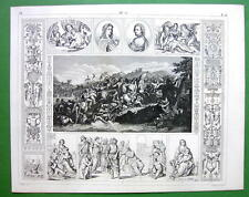 RENAISSANCE ART by Raphael Murillo Lebrun - 1844 SUPERB Antique Print Engraving