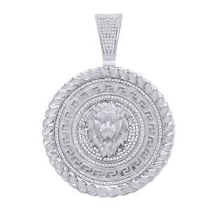 Diamond Simulant Lion Head Circle Pendant 14K White Gold Over Sterling