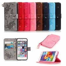 Luxury Diamond Flip Leather Wallet Card Case Cover For iPhone Samsung LG Huawei