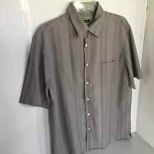 Alfani Mens Medium Grey Stripe on Grey Short Sleeve Shirt