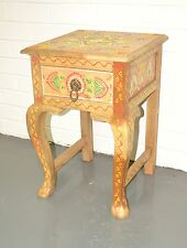 Hand Painted Cabinet Bedside Lamp Table Storage Indian Moroccan Multi Color Boho