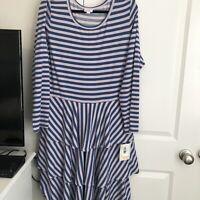 NWT Lularoe Georgia Dress 3XL Pink And Blue Tiered Long Sleeve Plus Size