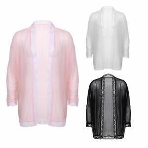 Men's See-through Lace T-shirt Pyjamas Cardigan Nightwear Pajamas Loungewear
