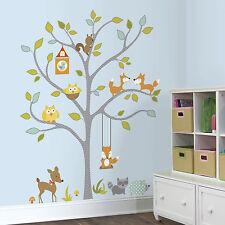 WOODLAND FOX & OWLS GiaNT WALL DECALS Forest Animals Stickers Baby Nursery Decor