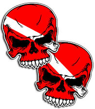 Diver Down Scuba Dive Skull Sticker Decal Flag face Tank Ocean  Beach