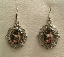 LADY picking roses DARK SILVER PLATED GLASS CAMEO PORTRAIT drop EARRINGS hook