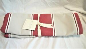 """NEW Pottery Barn umbrella table runner 16"""" x 108"""" Red Taupe Stripe"""