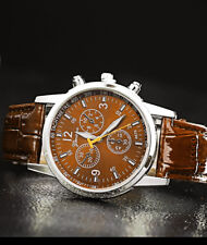 Men's Brown Luxury Analog Watch with Military Pin