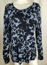 H&M Womens Navy Blue Baby Long Sleeve Floral Blouse Top Shirt Size L 14 16 NWOT