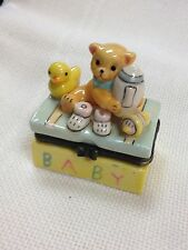 Trinket Box: Rectangular Box with Teddy Bear and Toy Collection on Top