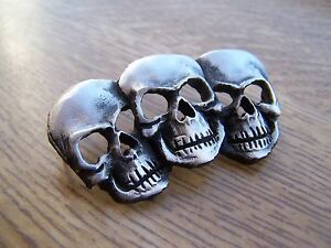 Pin Badge 3 Faces of Death Skull Gothic Biker Boxed Lapel Brooch FREE UK POST