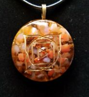 Fire Agate and Smokey Quartz Root Chakra Orgone Pendant for Grounding