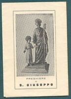 PREGHIERE A SAN GIUSEPPE - CON INDULGENZE DELL'ARCIVESCOVO SIRACUSA 2 FEB. 1935