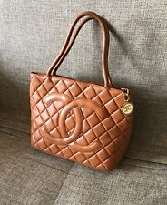 Chanel Tote Bag Medallion Brown Skin Authentic