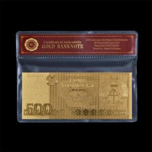 WR DDR GDR 500 Mark 1985 Gold Banknote mit Schutzhülle Geschenk für Papa