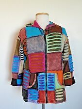 Windhorse Colorful Distressed Textured Patch Zippered Hoodie Jacket sz XL