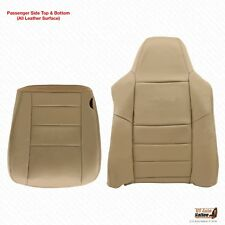 2002 To 2007 Ford F250 F350 Lariat PASSENGER Bottom-Top Leather Seat Cover Tan