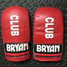 Vintage Bryan Club Gloves Mens Red Boxing Mits Martial Arts MMA UFC Sparring