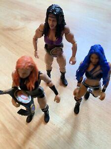 Mattel Wwe Figures Bundle Sasha Banks - Chyna - Becky Lynch + 2 Belts