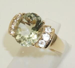 9carat Yellow Gold Green Amethyst & Cubic Zirconia Ring Size UK-O 1/2 US-7 1/4