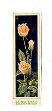 Old Vintage Bookmark Christmas Greetings Pink Roses Flowers Gift Her Mum Friend