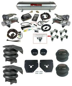 Complete Air Ride Suspension Kit w/480 Chrome & 27685 AirLift 3P Fits 73-87 C10